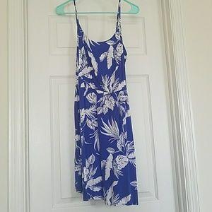 Blue & White Tropical design dress